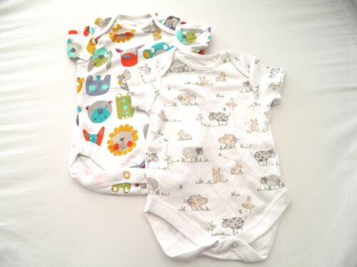 2 Boys Next Baby Bodysuit Cotton Vests Choice of designs Up to 1 Month 4.5kg10lb