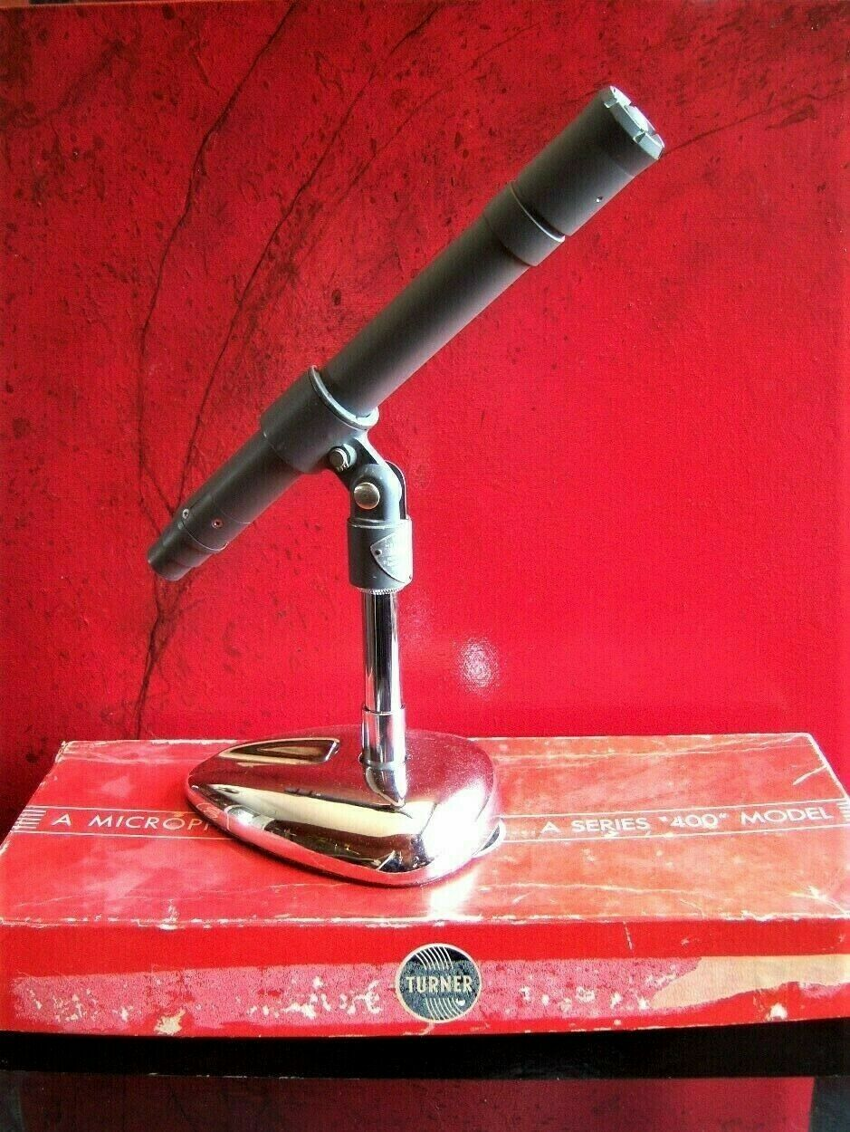 Vintage RARE 1950's Turner 401 Dynamic microphone w stand & more 77 57D old