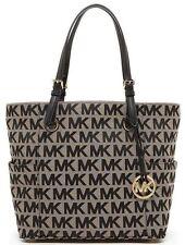 Michael Kors Jet Set Black Signature Tote Jacquard Handbag Purse O04