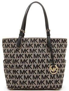 26ac14ae00d4 Michael Kors Jet Set Black Signature Tote Jacquard Handbag Purse O04 ...