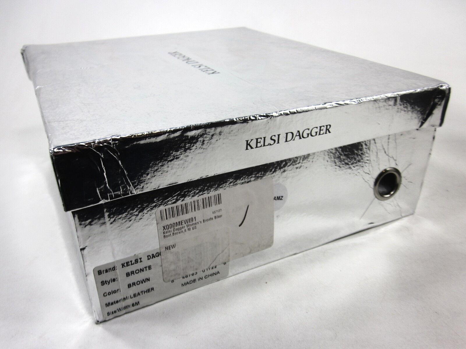 KELSI DAGGER, BRONTE BIKER BOOTS, BROWN, WOMENS, US 6 M, EURO 36, NEW IN BOX