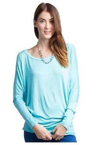Womens-Dolman-Rayon-Jersey-Top-Long-Sleeve-Tunic-Batwing-Blouse-Round-Neck-Plain