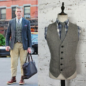 Mens-Vintage-Tweed-Herringbone-Waistcoat-Single-breasted-V-neck-Wool-Blend-Vest