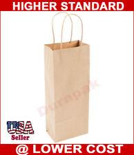 250 5x3x13 Wine Natural Kraft Paper Retail Shopper Gift Bag Shopping Bags