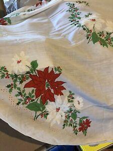 Vintage Christmas Tablecloth Oblong Poinsetta 80x60 Ebay