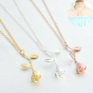 Jewelry-Rose-Women-Fashion-Necklace-Silver-Gold-Gift-Charm-Pendant-Flower