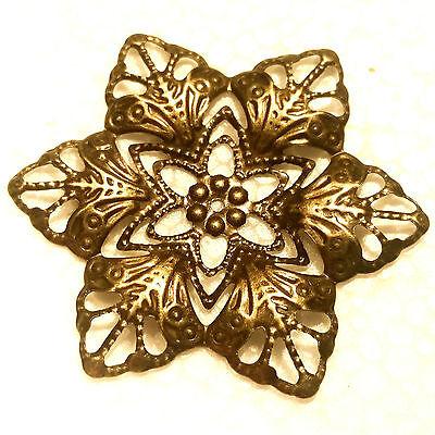 5x Stella Fiore Ornament Gioielli Bronzo Colori Ornamento Costume Medioevo Gothic-k Bronzefarben Verzierung Kostüm Mittelalter Gothic It-it