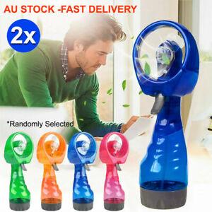 2x-Water-Spray-Fan-Summer-Cooling-Mist-Hand-Held-Portable-Plastic-Bottle-AU