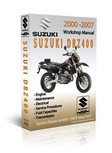 suzuki drz400 drz400 sm shop service manual parts catalog and rh ebay com suzuki drz400 service manual suzuki drz 400 repair manual