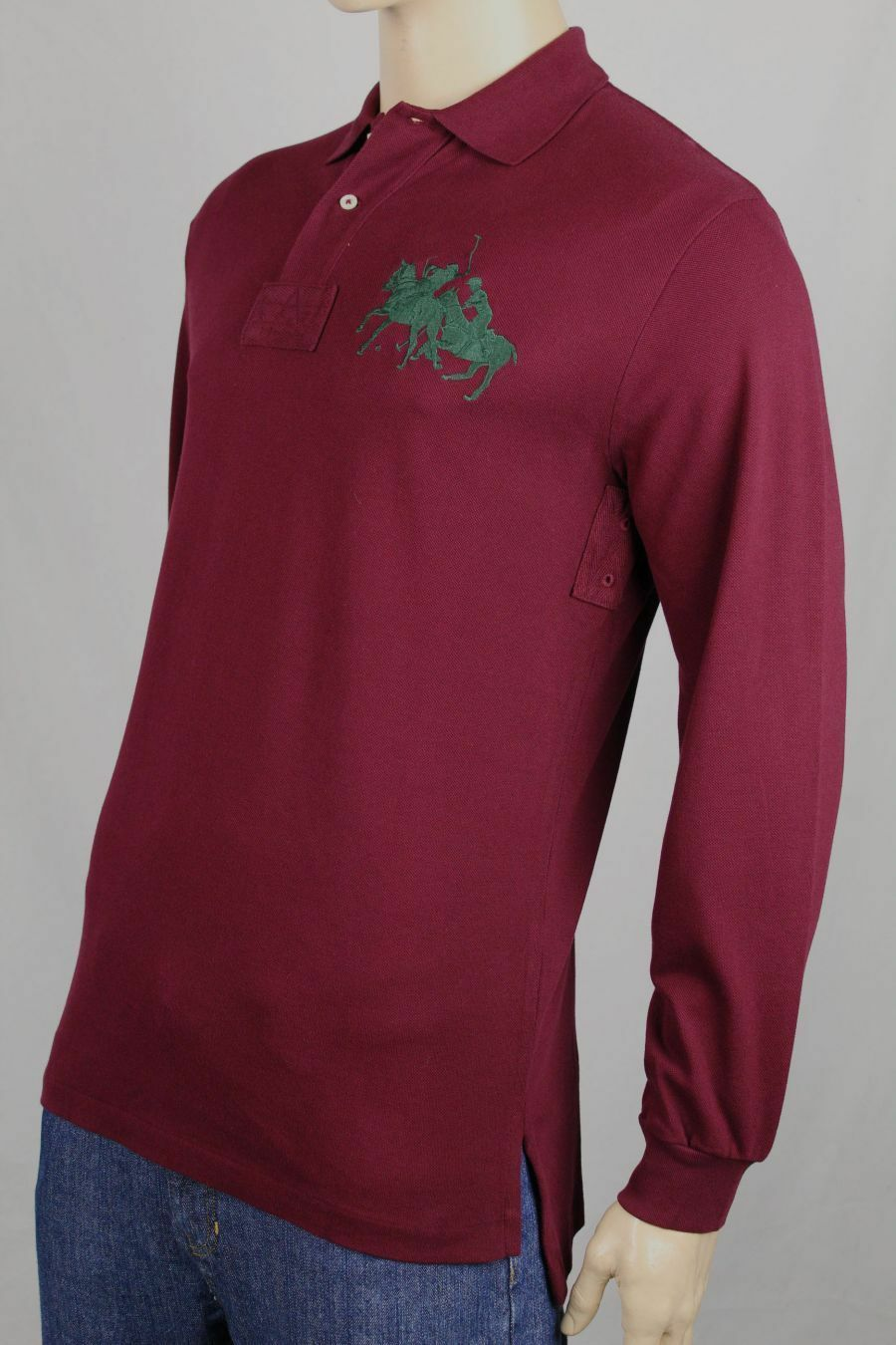 Ralph Lauren Small S Burgundy Big Green Pony Match Classic Fit POLO NWT