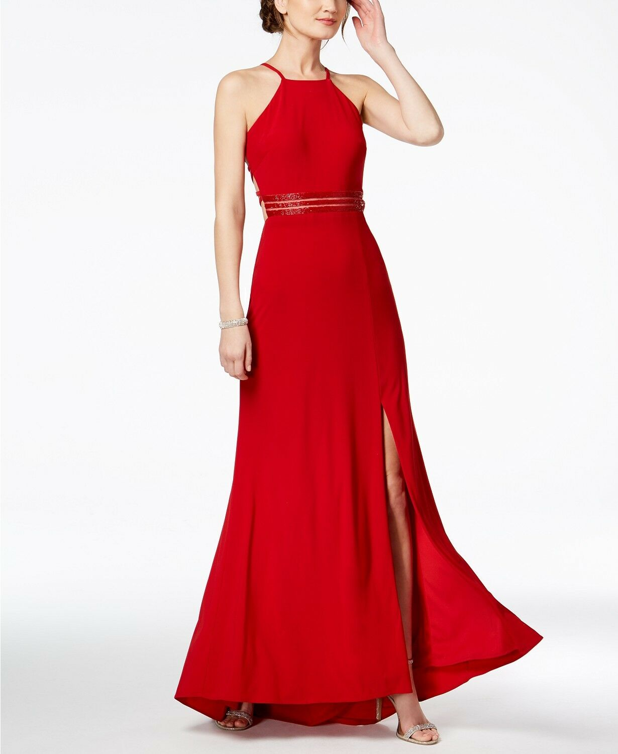 NIGHTWAY WOMEN'S RED STRAPPY BEADED A-LINE HALTER GOWN DRESS SIZE 10