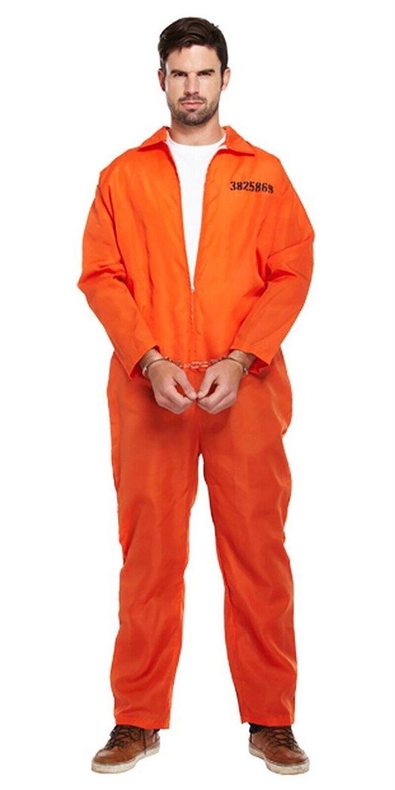 Adults Classic Orange Prisoner Jumpsuit Prison Inmate Fancy Dress Costume Outfit