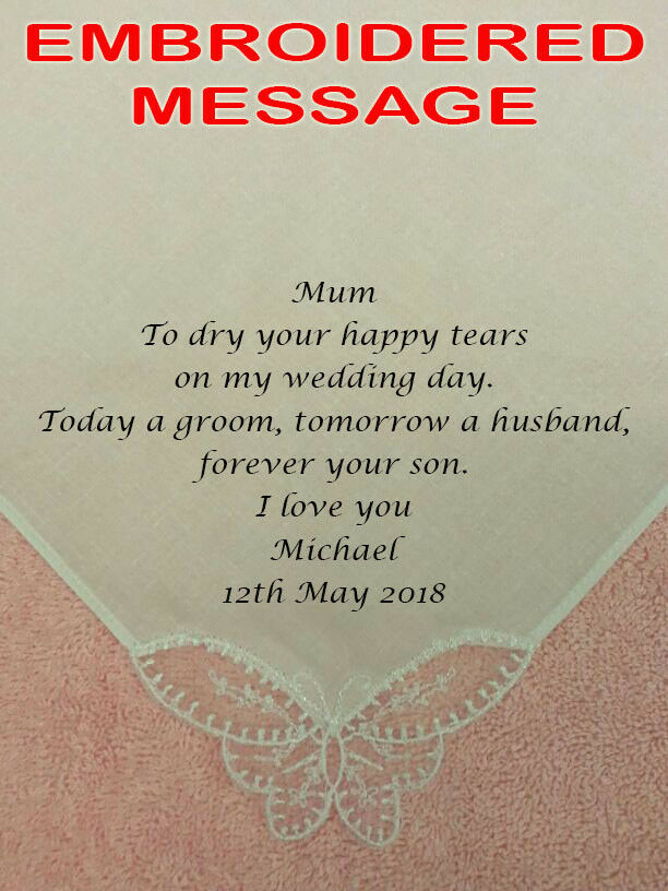 Mum of the Groom Personalised Wedding Handkerchief TODAY A GROOM Mother gift