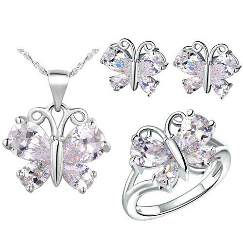 Butterfly Crystal Gem Stone Women Ring Earrings Necklace Set White Gold Filled