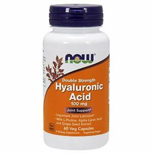 NOW Supplements Hyaluronic Acid, Double Strength 100 mg - 60 Veg Capsules