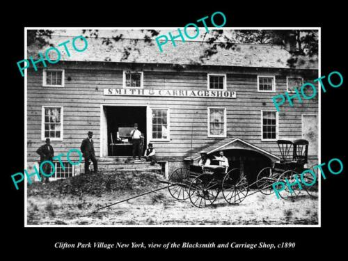 OLD 6 X 4 HISTORIC PHOTO OF CLIFTON PARK VILLAGE NEW YORK BLACKSMITH STORE c1890