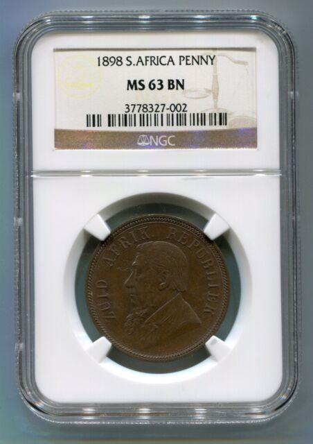 South Africa 1898 1 Penny Kruger era ZAR Coin High Grade NGC Certified MS 63 Bn