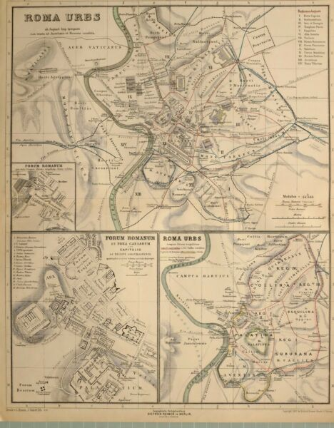 1892 Landkarte Rom Stadt Plan Römische Forum Circus Maximus Palatina