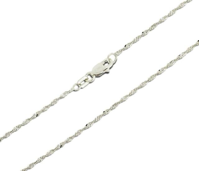 "10K SOLID WHITE GOLD LADIES SINGAPORE CHAIN necklace 16/""18/""20/"" 22/"" 24/"""
