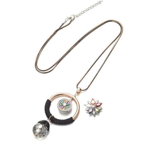 Ginger Snap Interchangeable Sweater Chain Necklace 18mm Buttons Charms Jewelry