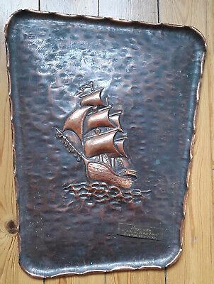 Altes Bild Relief Segelschiff Auf Kupferblech 3d Maritimes Fregatte Danzig Deko Farben Sind AuffäLlig