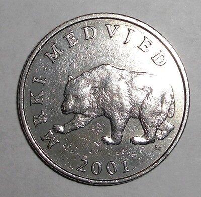 2001 Croatia 5 kuna, Brown Bear, animal wildlife coin