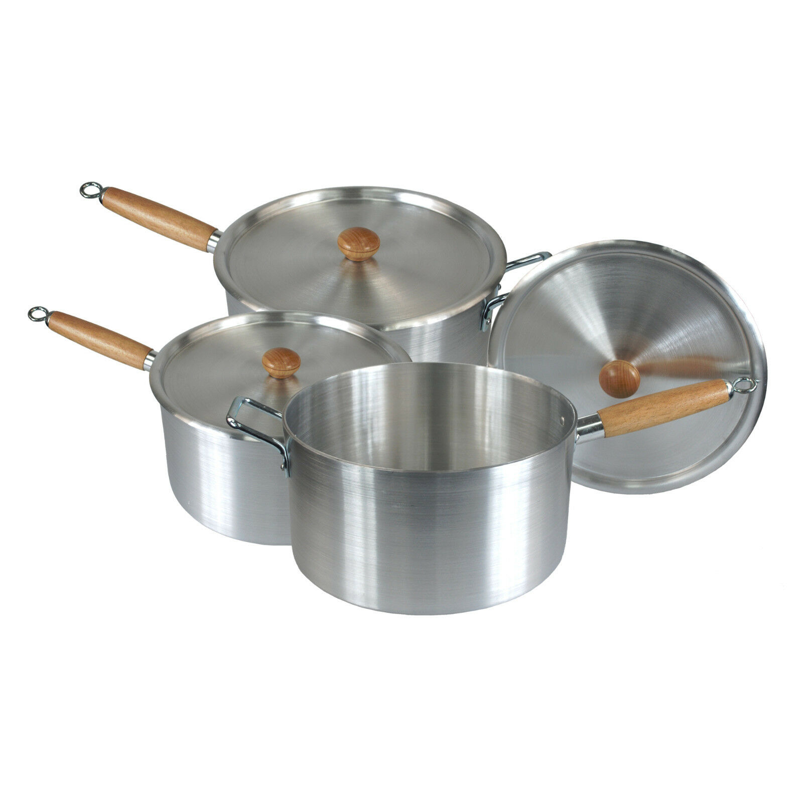 Wooden Handle Aluminium kitchen cooking pan Saucepan pot 3 pc Value Cookware