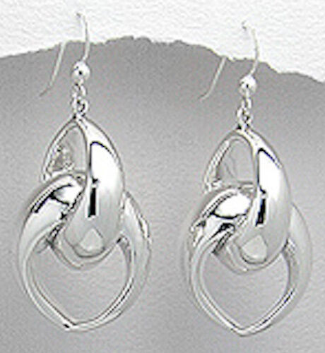 """11.7g Solid Sterling Silver BIG Link 1.85/"""" Long Dangle Earrings 47x12mm Couture"""