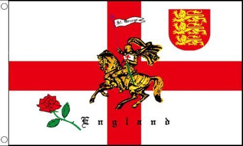 5x3 3x2 8x5 ft English Rose and Lion Flag St Georges Cross England