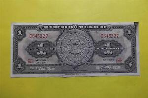1967-V-10 Uno Circulated Un Peso $1 Banco De Mexico BDC