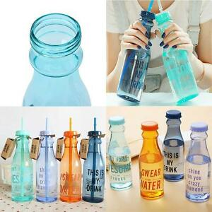 Light Outdoor Sport Water Bottle Travel Plastic Fruit Juice Cup with Straw UP