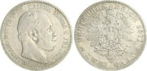 Prussia 2 Mark Silver With Small Eagle 1877 A S-Ss
