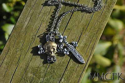 Once Upon A Time Captain Hook Pirate Skull and Crossbones with Sword Necklace