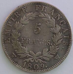 Frankreich-5-Franken-Napoleon-Kaiser-1809-W-Sg-Hervorragend