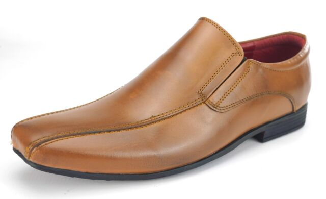7bb17537 Mens Leather Slip On Formal Casual School Work Square Toe Shoes Tan Brown
