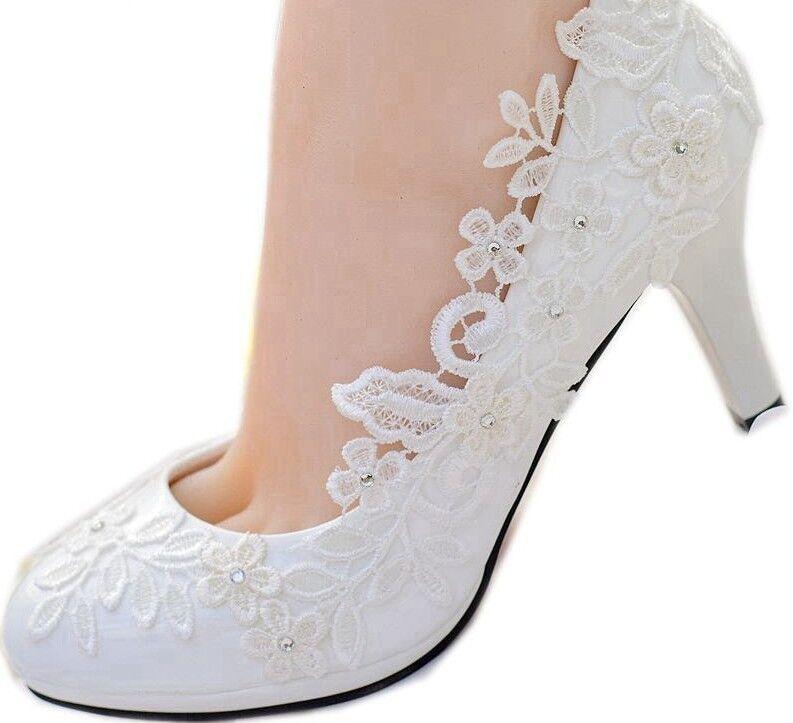 el mejor servicio post-venta Zapatos Para Mujer de Encaje blancooo Flores Flores Flores Boda Slip On Nupcial Dama Taco Alto Punta rojoonda  Descuento del 70% barato