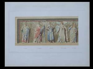 MEDIEVAL-ALTARPIECE-IN-SAINT-GERMER-FRANCE-1853-LITHOGRAPH-ARCHITECTURE