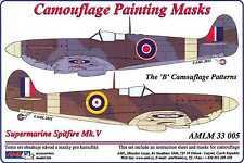 AML Models 1/32 CAMOUFLAGE PAINT MASKS SUPERMARINE SPITFIRE Mk.V B Patterns