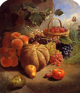 Oil painting William Merritt Chase - Still Life with Fruits Cantaloupe grape...