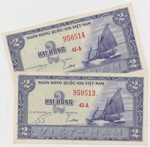 Mazuma *F808 Vietnam 1956 2 Dong 42A 950513-14 UNC Foxing 2 Running