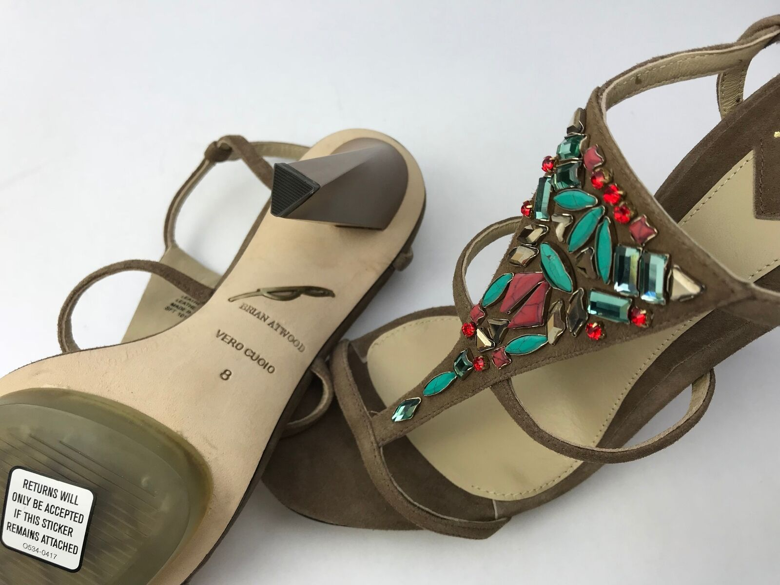 Brian Atwood Donosa T Strap Jeweled Sandals High Heel in Größe Tan braun Größe in 8 - NEW a3b887
