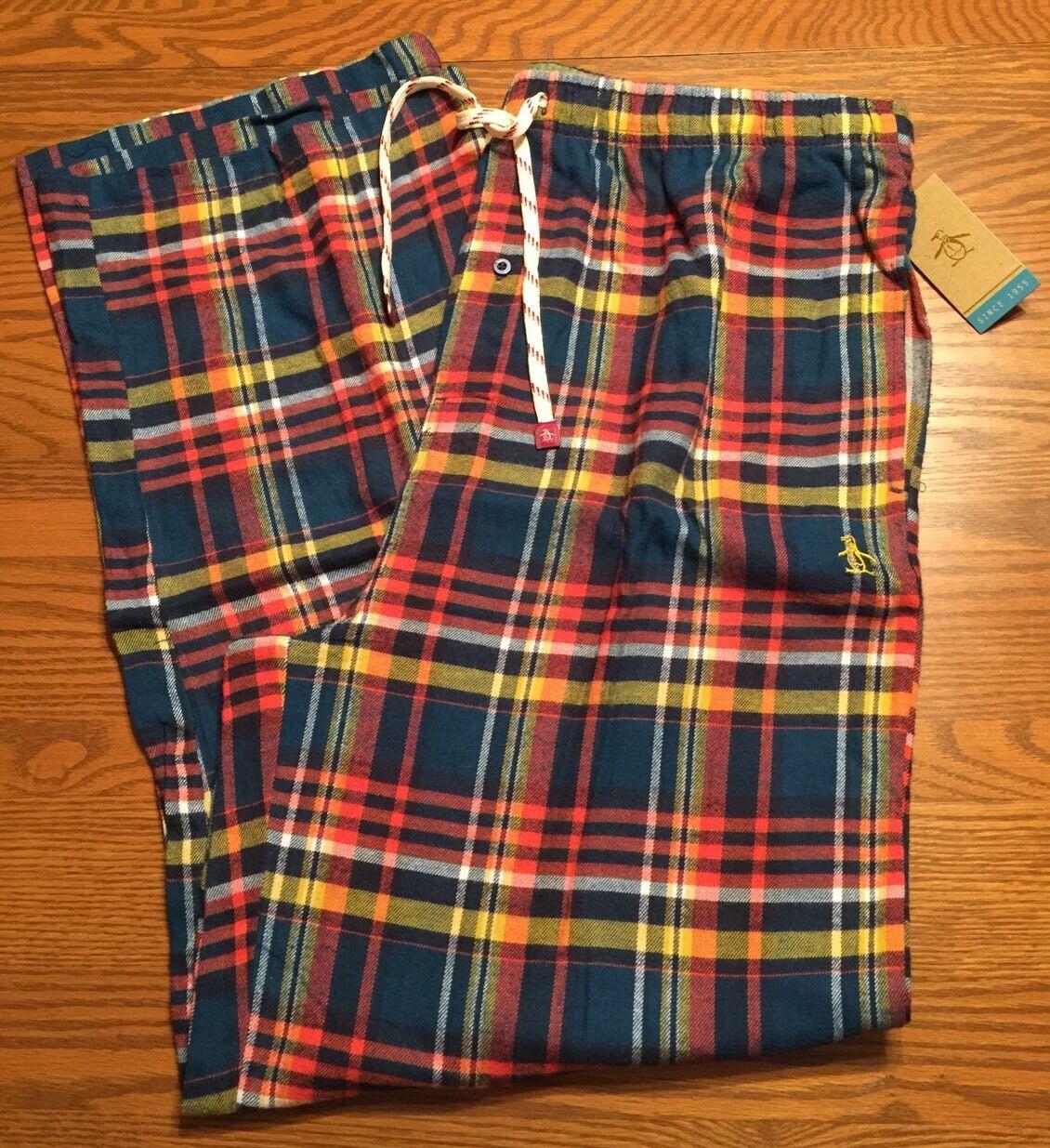 Original Penguin Mens Sleepwear Flannel Pants orange bluee Multi-color Plaid XL