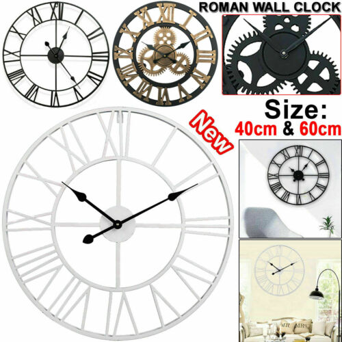 LARGE OUTDOOR GARDEN WALL CLOCK BIG ROMAN NUMERALS GIANT OPEN FACE METAL 40//60CM