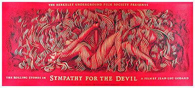 Rare Rolling Stones Sympathy For The Devil Silkscreen Movie Poster Stunning Ebay