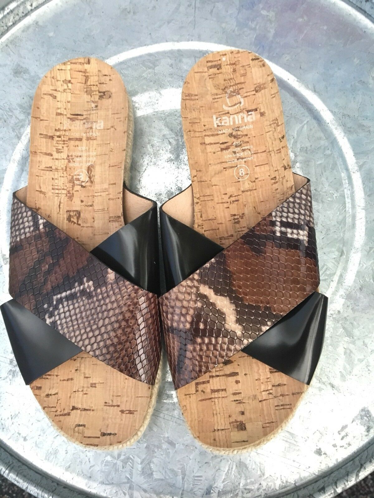 NEW $175 KANNA Sandals•Sz Espadrille Snakeskin Print Leather Sandals•Sz KANNA 8 51ceb3
