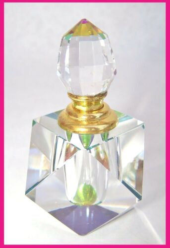 Abstract Cut Iridescent Crystal Perfume Bottle with Crystal Dauber