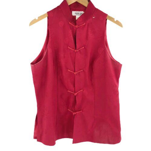 DRAGON SILK Asian Silk Kimono Blouse Sleeveless To