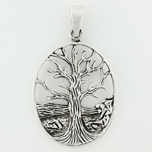 STERLING-SILVER-TREE-OF-LIFE-OVAL-PENDANT-AUSTRALIAN-BOAB-TREE-STAMPED-925