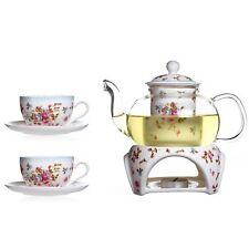 Heat-resistant Rose Ceramic Tea Set 11.8 oz Glass Filtering Tea Maker Teapot Set