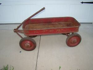 Details about Vtg Radio Flyer Red Wagon Great Patina Showing Age and Use  Parts or Restoration